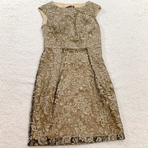 Sue Wong gold floral lined sleeveless dress